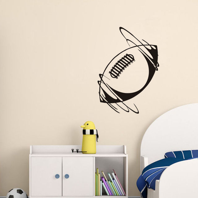High Quality Wall Stickers Spinning Rugby Ball In Wind Vinyl Wall Decal Sport Removable Home Decor Art Sticker For Bedroom ZA392