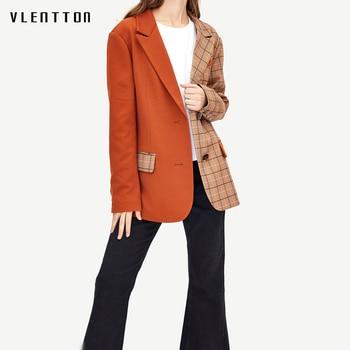 2019 New Vintage Female Jacket Blazer Single Breasted Plaid Patchwork Long Sleeve Coat Spring autumn Office Women
