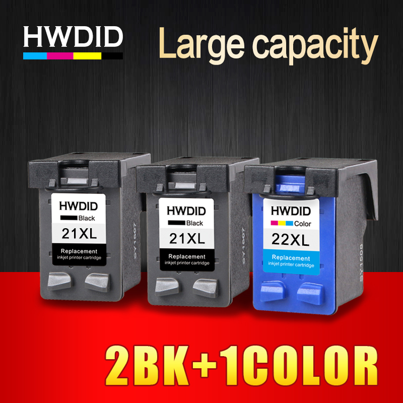 HWDID 2BK1COL 21XL 22XL Refilled ink cartridge replacement for HP 21 and 22 for HP Deskjet 3915 1530 1320 1455 F2100 F2280 F4180