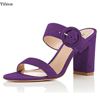 Yifsion New Women Mules Sandals Square High Heel Sandals Open Toe Ladies Black Purple Red Party Shoes Women Plus US Size 4 15