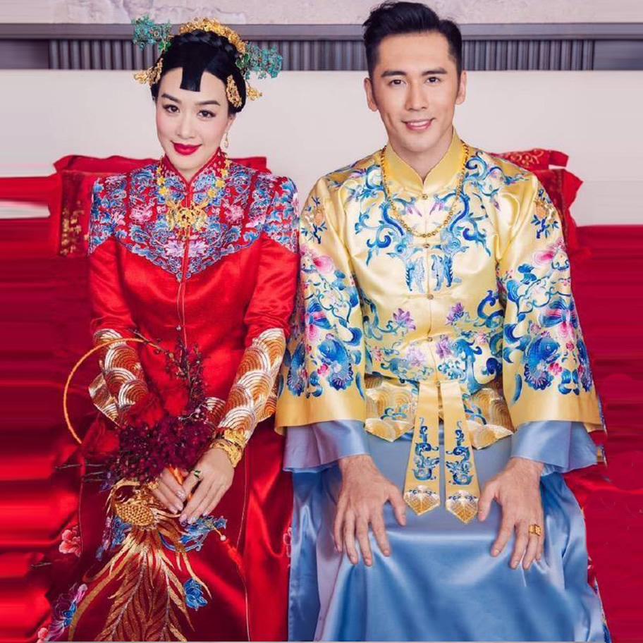 Traditional Chinese Wedding Gown Qipao Embroidery Dragon Phoenix Clothing Satin Bride Groom Cheongsam Top Oriental Style Dresses все цены