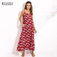 Boho 2017 ZANZEA Oversized Women Summer Floral Print Sleeveless Vintage Spaghetti Straps Beach Party Maxi Long