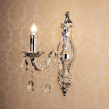 chrome Antique crystal wall lamps for home silver aluminium wall sconces lighting lamparas de pared E14 Bathroom led wall lights