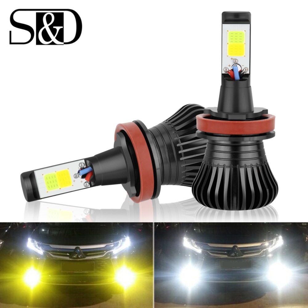 S & D H8 H9 H11 H7 Led-lampen Dual Farbe Auto Nebel Driving DRL Lampe HB3 HB4 9005 9006 h27 880 881 H3 H1 Auto lichter Weiß Gelb