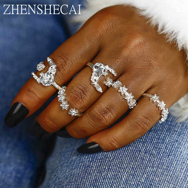 5pcs/Set Vintage Antique Silver Color crystal shiny star ring for Women Knuckle Midi Finger Rings Set Jewelry wholesale nj12