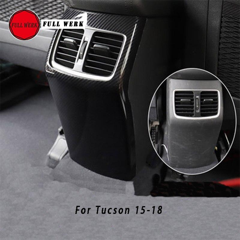 1 pc ABS accessoires de voiture accoudoir arrière évent revêtement d'habillage pour Tucson 15-19 arrière climatisation sortie cadre Anti coup de pied style
