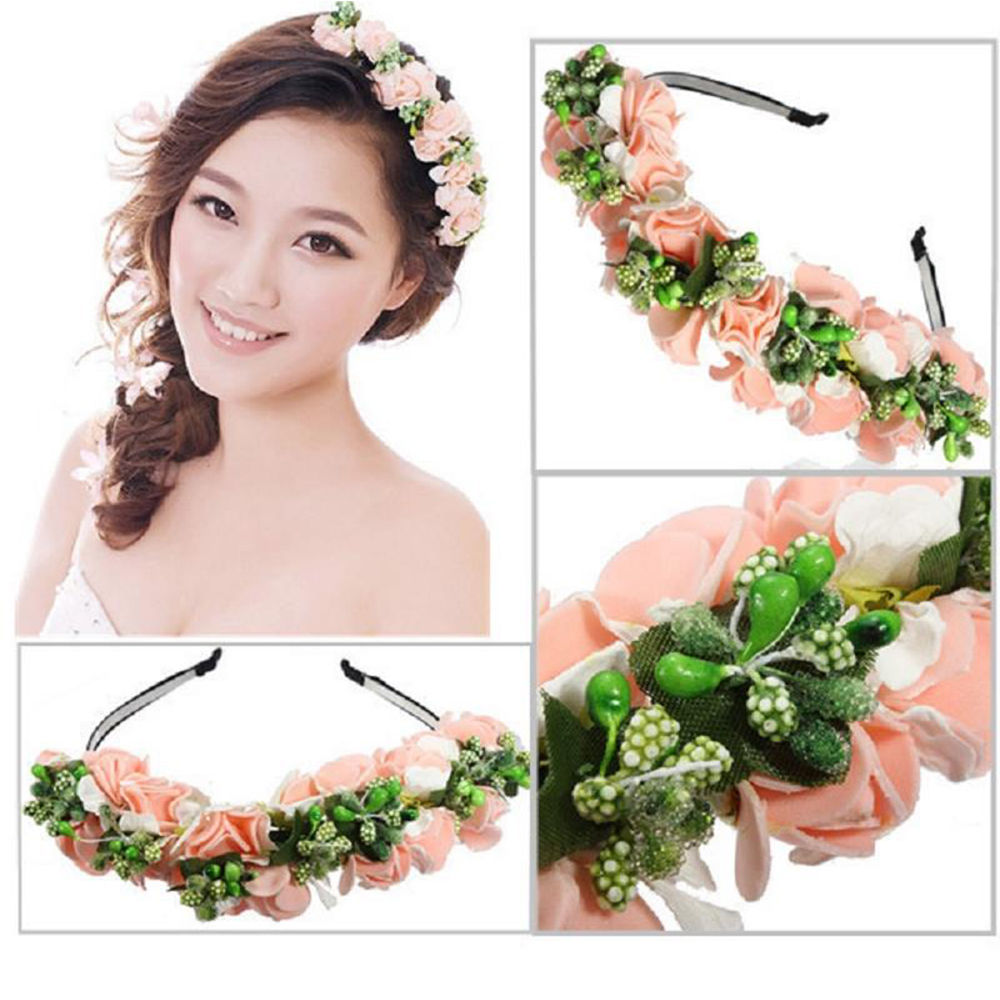 Hot Wedding Party Prom Head band Festival Decor Princess Floral Wreath  Headpiece Beautiful Flower Garland Bride dfaa6bd4ec2