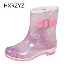 HXRZYZ женщин дождь сапоги женщин плюс хлопок резиновые ботинки лодыжки новые моды скольжения устойчивостью водонепроницаемый весна / осень женщин обувь