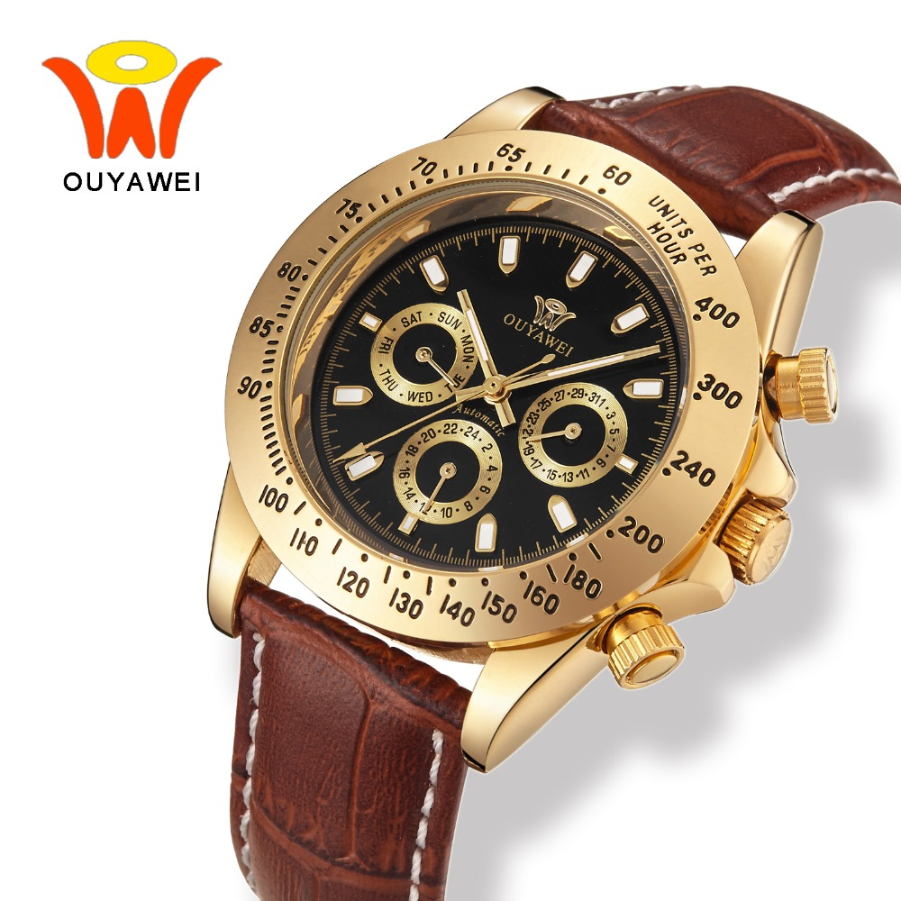 OUYAWEI New Male Leather Luxury Gold Automatic Watch Men With Auto Date Mechanical Wrist watches for Fashion Man horloges mannen orkina gold watch 2016 new elegant armbanduhr herrenuhr quarzuhr uhr cool horloges mannen gift box wrist watches for men