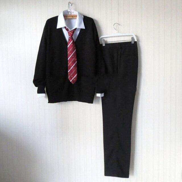 Black Sweater Cardigan Sweater Harajuku JK Men Japanese School Uniform Sweater+Shirt+Pants+Red Tie Halloween Cosplay Costume