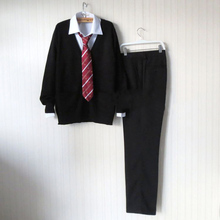 Black Sweater Cardigan Sweater Harajuku JK Men Japanese School Uniform Sweater+Shirt+Pants+Red Tie New XS/S/M/L/XL/XXL/XXXL