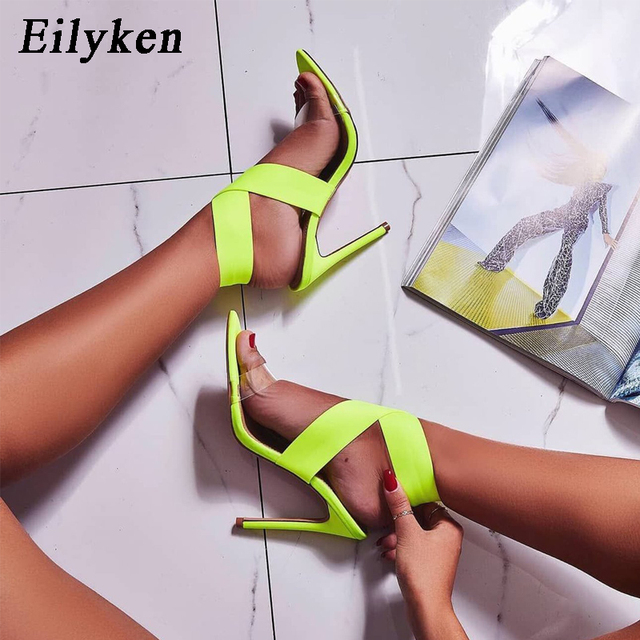 Eilyken sandalias verdes fluorescentes para mujer Zapatos de tacón alto con Puntera abierta para mujer 35-42