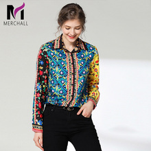 Merchall 2019 Spring Summer Women Floral Print Runway Shirt Tops High Quality Brand Elegant Long Sleeve Turn Down Collar Blouse