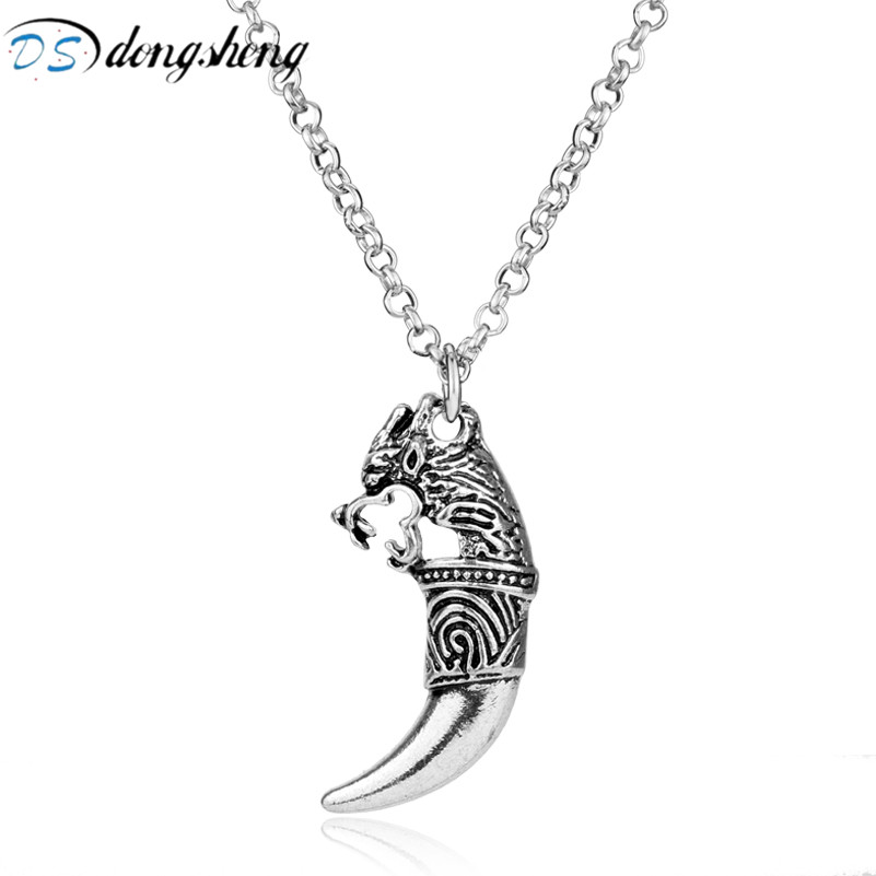 dongsheng Fashion Jewelry Wolf Head Pendant Vintage Wolf Tooth Dragon Pendant Necklace Lycan Werewolf Warrior Choker Necklace-30