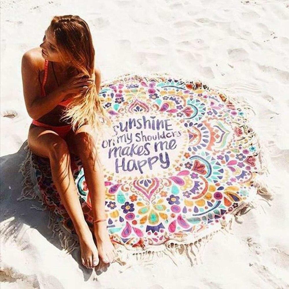 (160*160 cm) rond gland Yoga couvertures coton Fitness imprimé alphabet femmes Sport Yoga tapis multi-fonction plage Yoga couverture