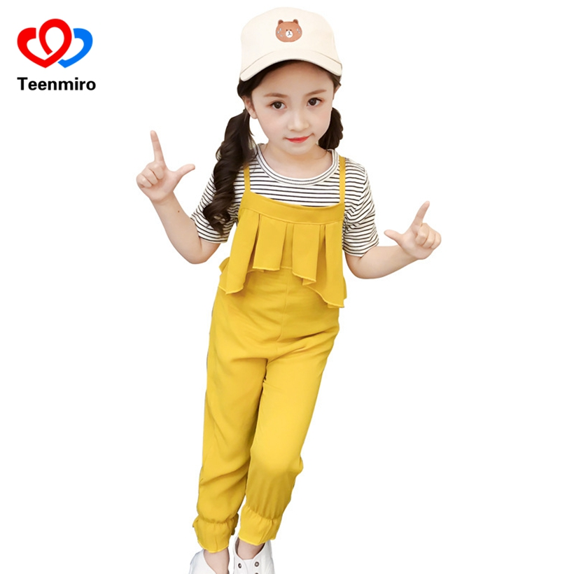 2018 Summer Baby Clothes Sets for Girls Kids Stripe Tops T-shirt +Yellow Suspender Pants 2PCS Fashion Children Girl Clothing Set 2017 new fall mustard yellow children sets ruffle butterfly sleeves infants clothing baby girl nursing accessory apparel
