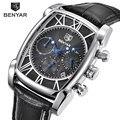 Benyar квадратные мужские часы лучший бренд класса люкс Бизнес водонепроницаемые кварцевые кожаные спортивные наручные часы Мужские часы ...