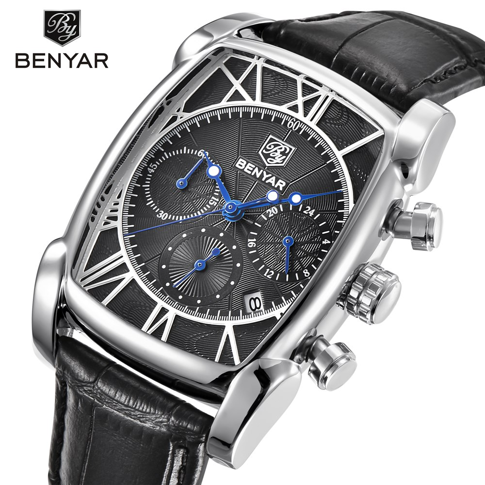 Benyar Square Men Watch Top Brand Luxury Business Waterproof Quartz Leather Sport Wrist Watch Men Clock Male Relogio Masculino benyar quartz watch men sport watch luxury brand leather wrist watch men chronograph business watch male clock relogio masculino