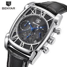 Benyar Square Men Watch Top Brand Luxury Business Waterproof Quartz Leather Sport Wrist Watch Men Clock Male Relogio Masculino