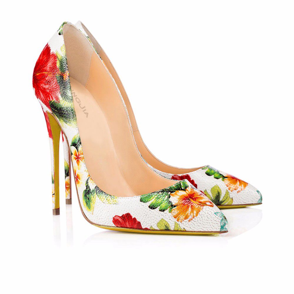 c23faa43359 Women Genuine Leather High Heel Pumps 2017 Floral Shoes Ladies Extreme  Heels Real Leather Elegant Wedding Stiletto Plus Size -in Women s Pumps  from Shoes on ...