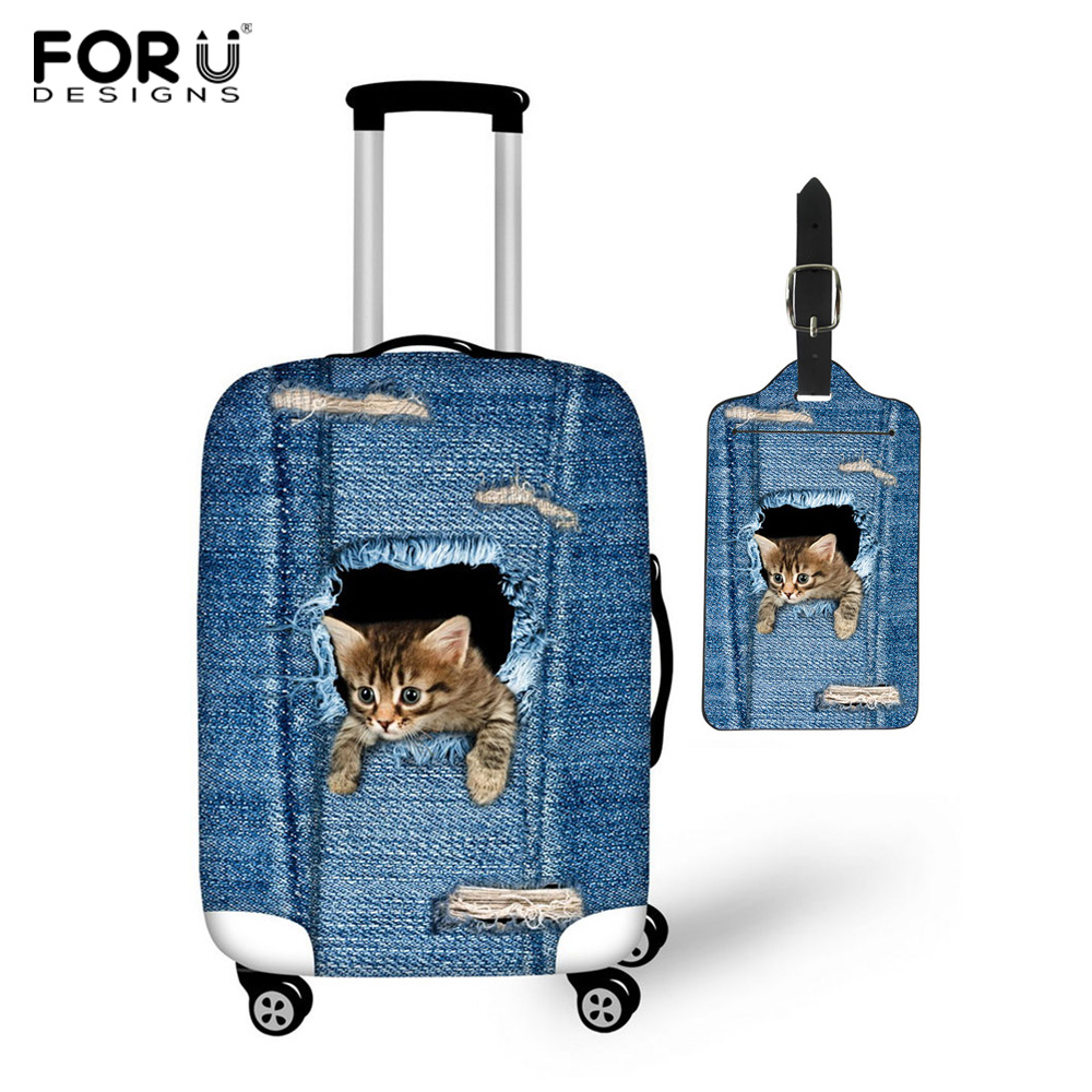 FORUDESIGNS Classic Denim Cat Elastic Luggage Protective Covers Of 18-30 Inch Trap Bag Dustproof Protect Travel Trolley Cases