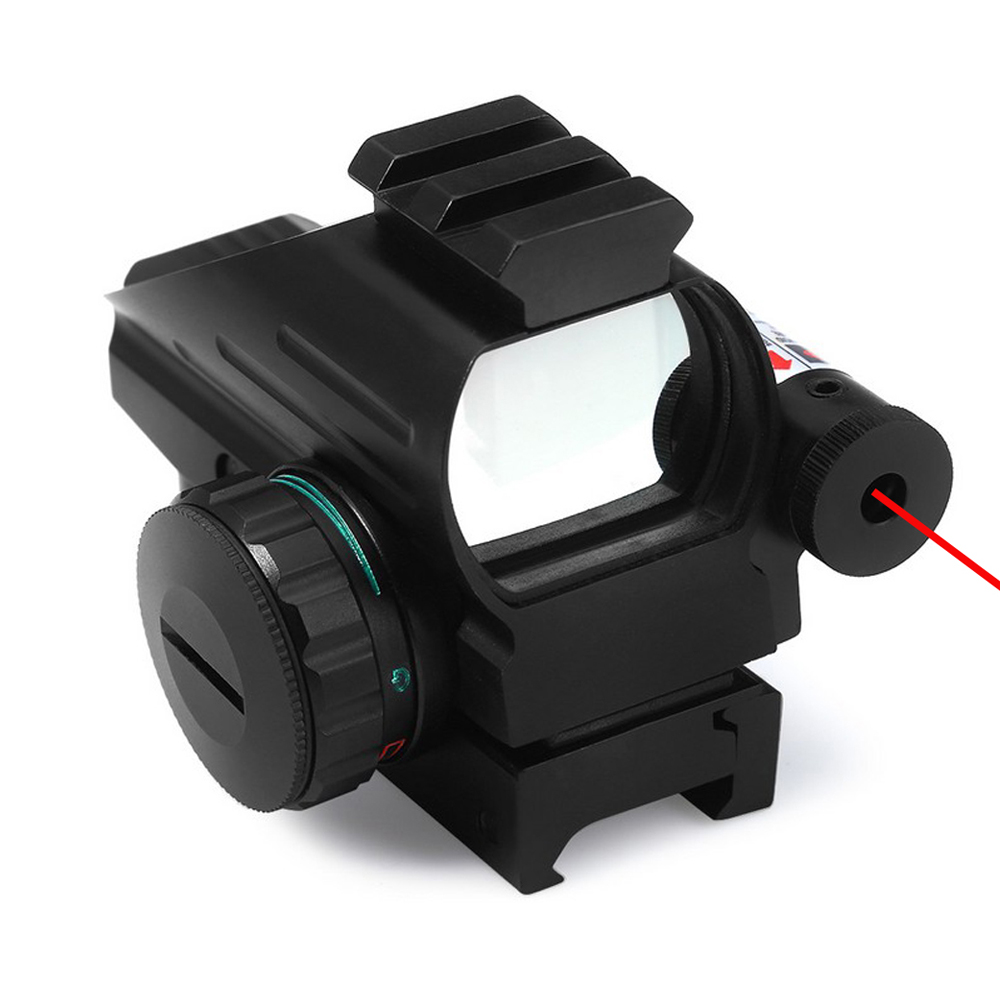 Hunting Riflescope Optics Holographic Red Green Dot Reflex Sight With 4 Reticle Patterns 20mm Rail Mount Red Laser Beam Combo.