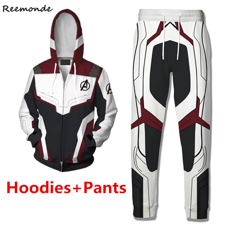 Endgame Realm Captain Cosplay Costume Captain America Hoodies Sweatshirt Superhero Iron Man Shirt Coat Pants Men Women