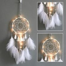 Moon Dream Catcher Feather Light Crafts White Wind Chimes Handmade Indian Dreamcatcher Net Wall Hanging Home Decor