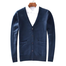 Autumn new men V collar sweater classic cardigan pure cotton sweater long sleeved bottoming shirt 8505