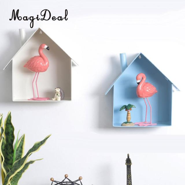 Magideal House Shaped Iron Corner Wall Floating Shelves Display Rack Entryway Mail Box Postcard Holder Flowers