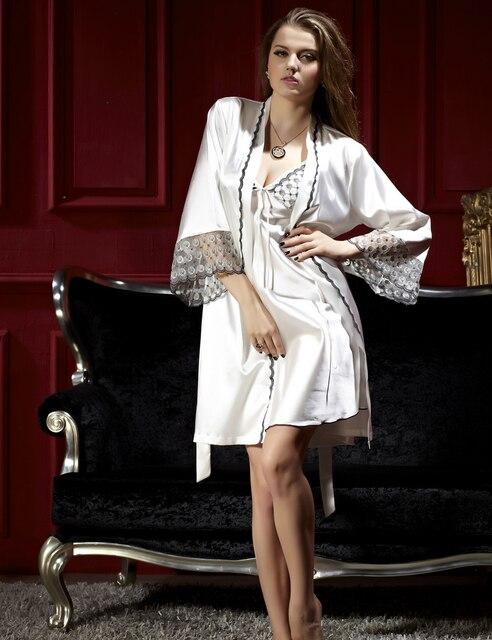 Мода Белый Три Четверти Халат Устанавливает Женщины Сексуальные Кружева Ночные Рубашки Twinset Pijamas Modelos Femininos V-образным Вырезом Шелковые Пижамы 8201