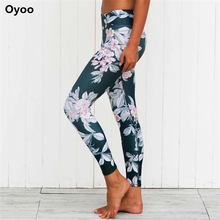 Oyoo Locos seguidores de estampado floral gimnasio sport leggings-Adelgazamiento Mediados de Subida del Corte de la Mujer Leggings Yoga Cómoda Azul oscuro Pantalones de Yoga