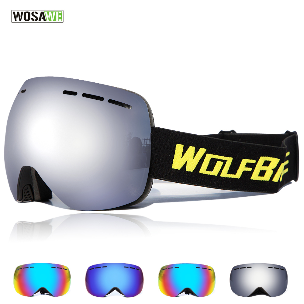 WOSAWE New Ski Glasses double UV400 anti-fog Ski Mask Glasses Men Women Snow Snowboard Goggles Skiing Eyewear