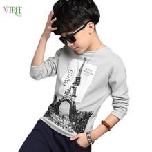 Nouveau 2016 automne garçons t-shirt adolescente 12 14 ans t-shirt pour garçons chemise enfants garçon vêtements enfants coton gris couleur tops