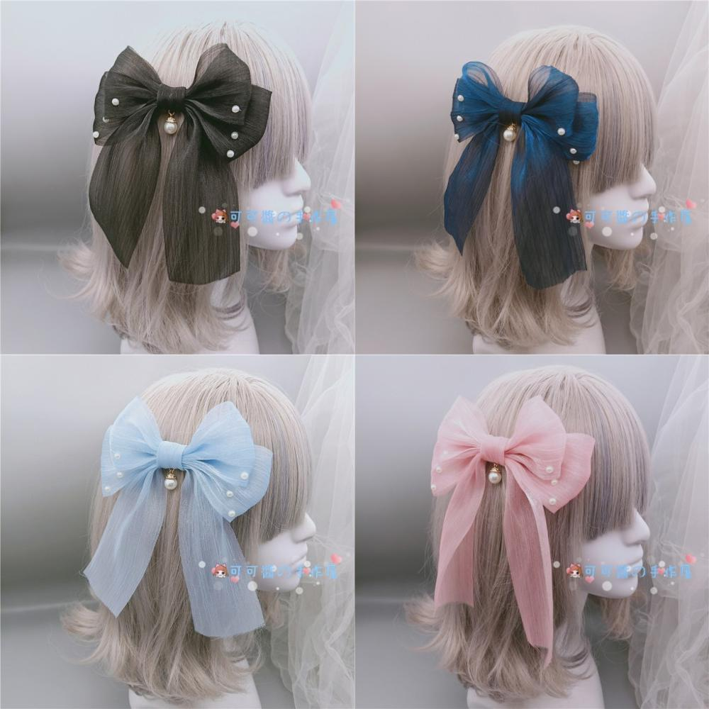 12 Colors Chiffon Big Bowkot Soft Sister Kawaii Sweet Lolita Hairpin Japanese Women's Cosplay   Headwear   Hair Accessory Side Clip