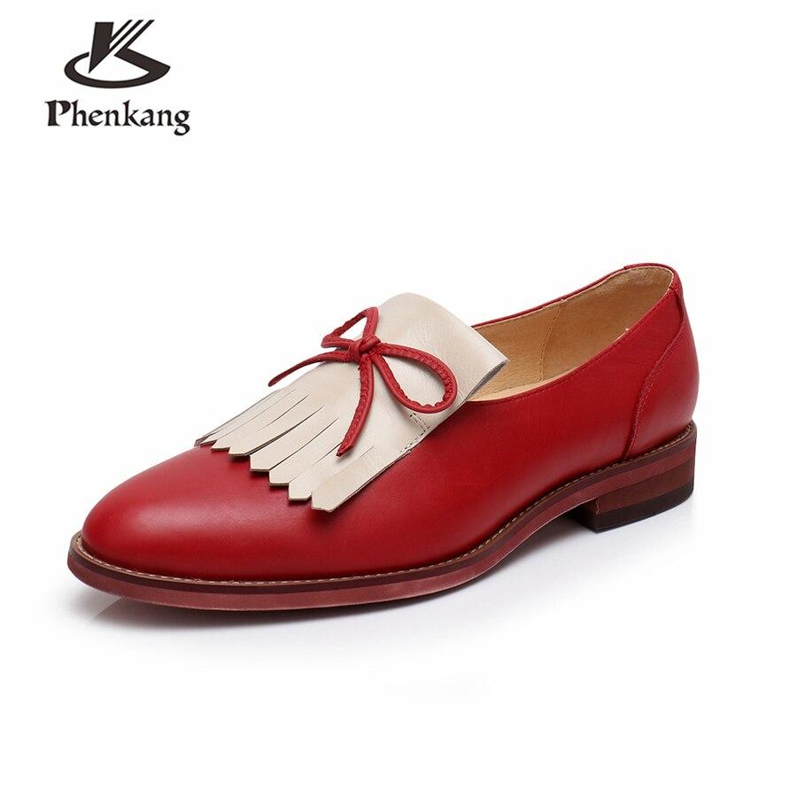 Rouge Brogues blue Sneaker Red En 2018 Véritable Femmes La Brun Vintage Femme Cuir Main Oxford Yinzo Chaussures À brown Printemps Pour Bleu Appartements qBTPTdn
