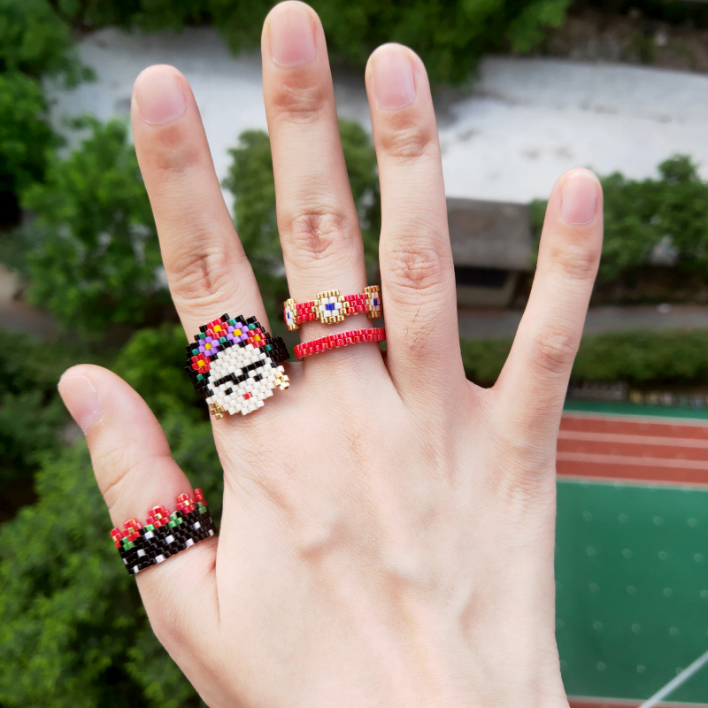FAIRYWOO Simple Ring Beautiful Girl Flower Turkey Evil Eye Ring Set Woman Red New Fashion Trendy Mexico Handmade Golden Rings in Engagement Rings from Jewelry Accessories