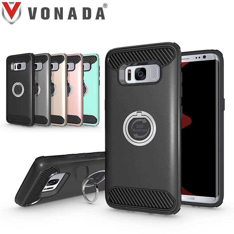 Vonada Anti fall Case for Samsung Galaxy S8 Plus / S8 Metal Ring 360 Degree Rotation Holder TPU PC Hybrid Shockproof Case Cover