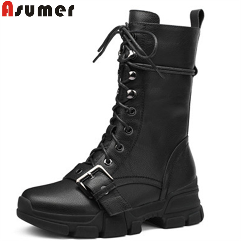 ASUMER black 2018 fashion autumn winter boots women round toe zip genuine leather boots cross tied mid calf boots street style цена