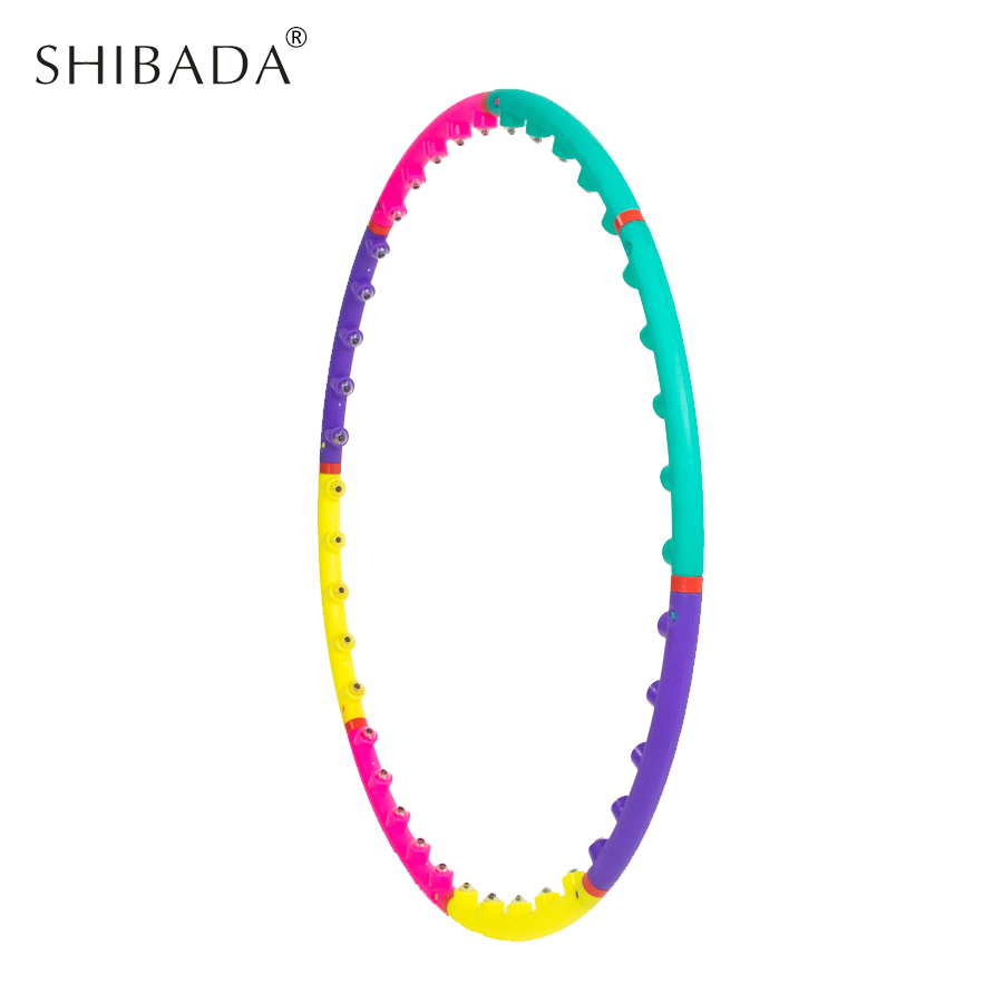SHIBADA 8 Section 98cm Magnet Fitness Colorful Hula Hoop Sport Massage Hoops Bodybuilding for Women Removable Gymnastics Ring