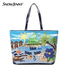 Bolsos de hombro de cuero con parches bordados bolsos de mano Totes Braccialini marca estilo artesanía dibujos animados isla paisaje
