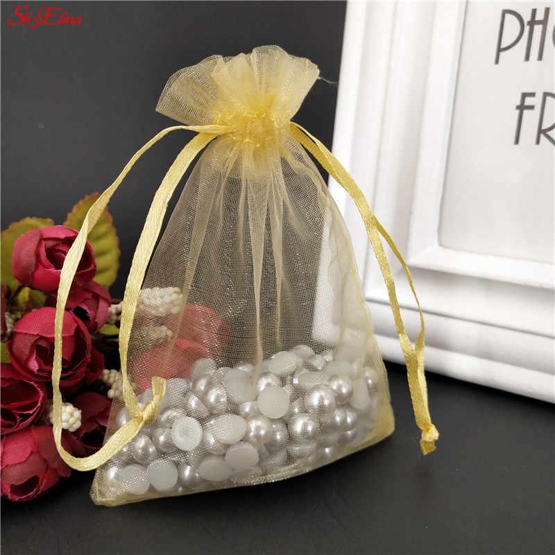 Organza Cadeau Sacs Bijoux Pochettes Mariage Fête FAVEUR 7x9 8x12 10x15 Cms