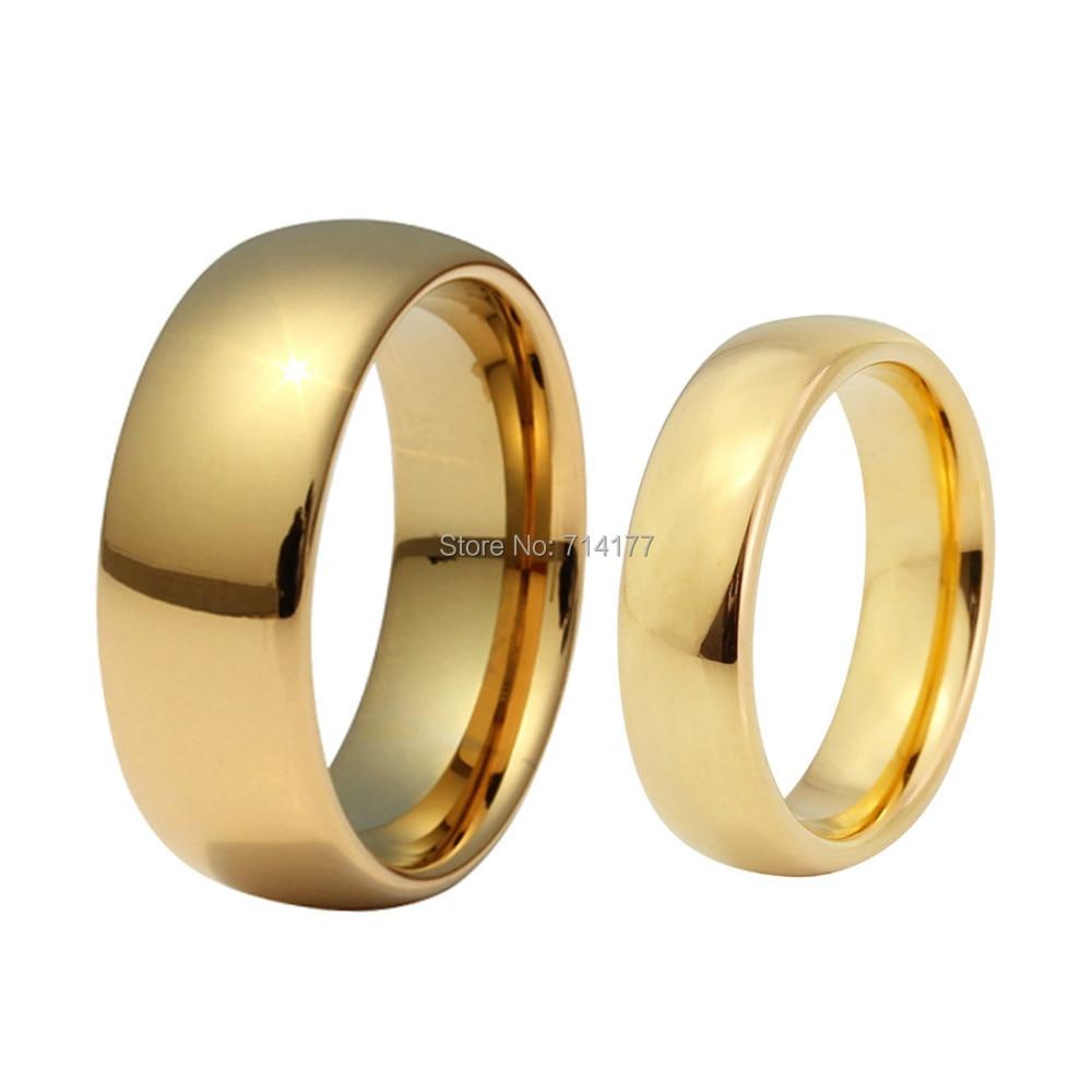 6mm & 8mm Unisex Cobalt Free Tungsten Carbide Goldcolorfortfit Wedding  Band Ring