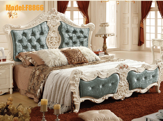 French Style White Solid Wood Oak Wooden Bedroom Furniture Set Bed