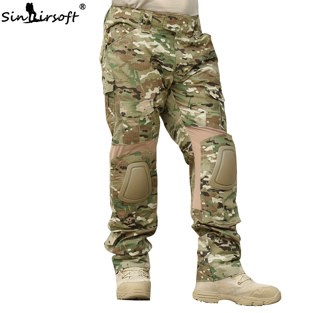 SINAIRSOFT Combat Pants Military Tactical Trousers Camouflage Hunting Army Pants with Knee Pads Outdoor hiking climbing