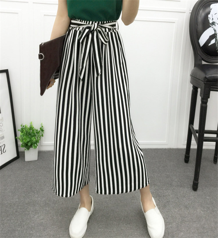 Customize Casual chiffon   Wide     leg     pants   Black white striped Trousers Elastic Loose chic Palazzo Lounge   pant