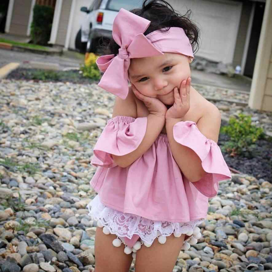 Kids Clothes Children Clothing Set Toddler Kids Baby Girl Off Shoulder Ruffle T-Shirt Tops Summer Clothes Outfits 15