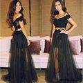 2016 Fashionable Sexy Lace  Applique Two Pieces Evening Dress Custom make Women Short Sleeve Prom Dresses