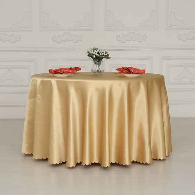 Double Satin Gold Rectangle Round Square Hotel Tablecloths Is Wedding Banquet Tablecloth