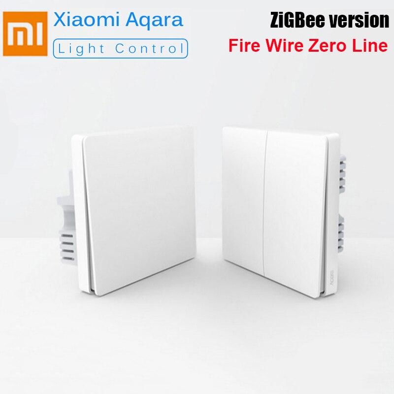Original Aqara Smart Home Wall Switch Light Control Fire Wire Zero Line ZiGBee Double Single Key Wall Switch Mi Home APP Control